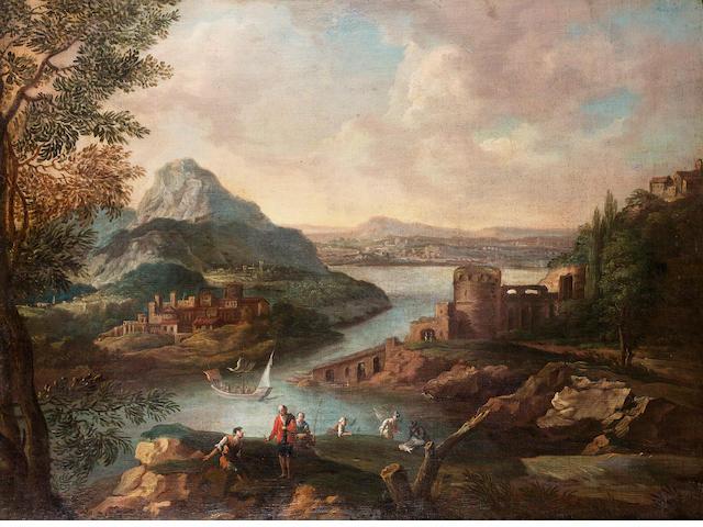 Circle of Joachim Franz Beich (Ravensburg 1665-1748 Munich) A mountainous river landscape  66 x 88.2