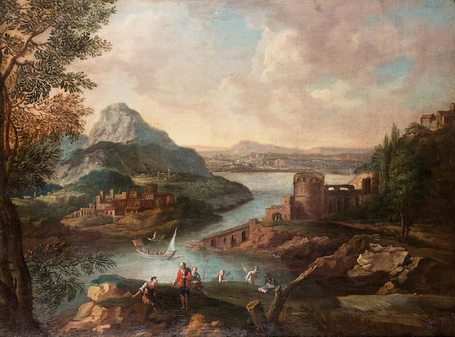 Circle of Joachim Franz Beich (Ravensburg 1665-1748 Munich) A mountainous river landscape  66 x 88.2