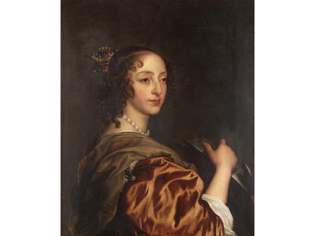 After Van Dyck A portrait of Henrietta Maria, half-length as Saint Catherine 74.5 x 58.5 cm. (29¼ x