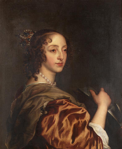 After Sir Anthony van Dyck, 18th Century Portrait of Queen Henrietta Maria, half-length, as Saint Catherine 74.5 x 58.5 cm. (29¼ x 23 in.)