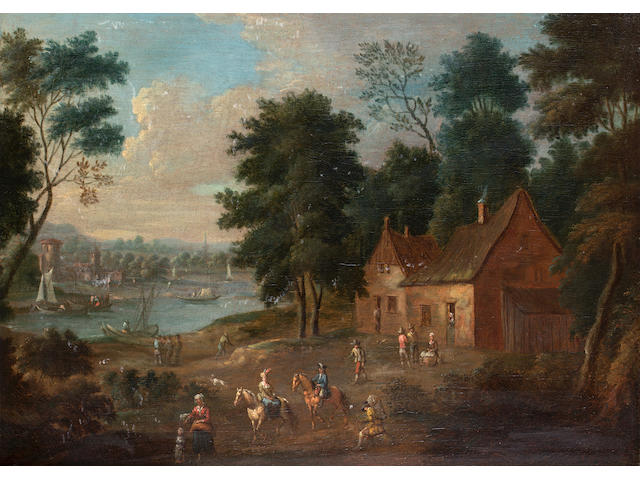Attributed to Maximillian Blommaert Riders outside a country cottage,  48.5 x 67 cm.( 19 x 26 ½ in.)