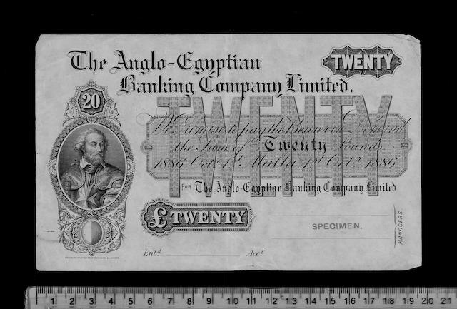 Malta, The Anglo-Egyptian Banking Company Limited, Twenty Pounds.