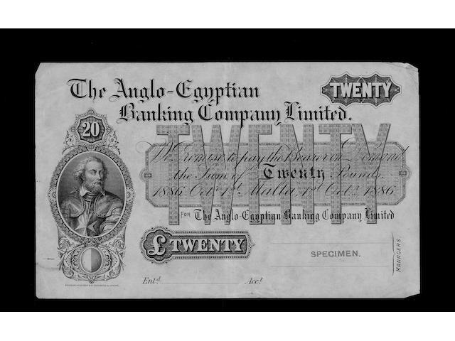 Malta, The Anglo-Egyptian Banking Company Limited, Twenty Pounds.