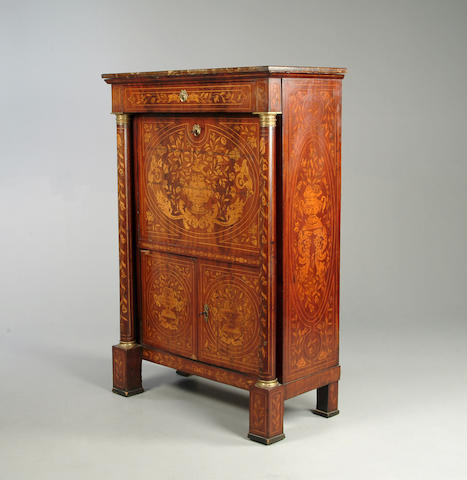 A 19th Century mahogany and marquetry escritoire with marble top, 99cm wide