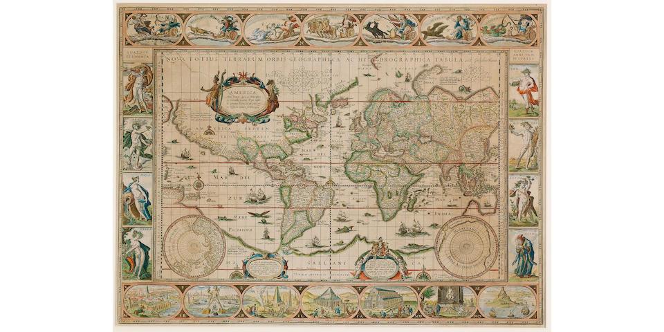 WORLD BLAEU (WILLEM) Nova Totius Terrarum Orbis Geographica Ac Hydrographica Tabula