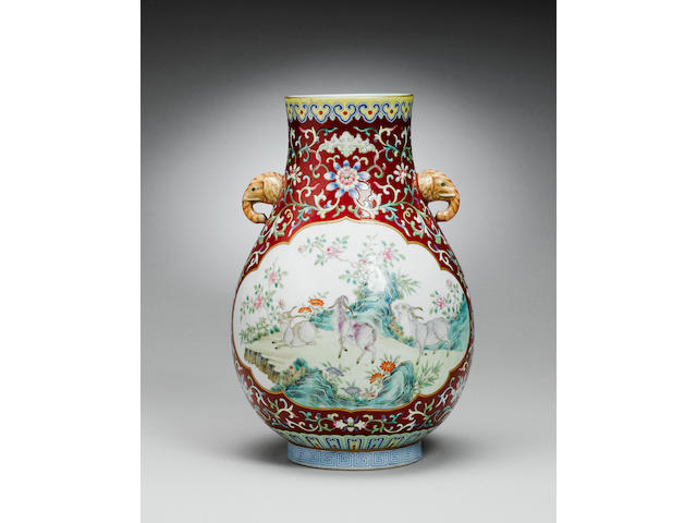 A fine famille rose vase, hu Jiaqing seal mark and of the period