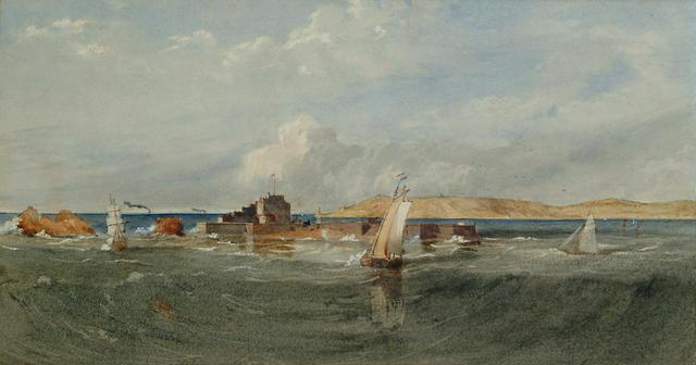 Edward Henry Wehnert (British, 1813-1868) Elizabeth Castle, Jersey, Channel Islands, 5 3/4 x 10 3/4 in (14.5 x 27 cm).