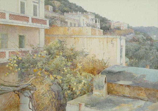 Ernest Albert Chadwick (British, 1876-1955) Capri, Italy, 9 3/4 x 13 3/4 in (25 x 35 cm).