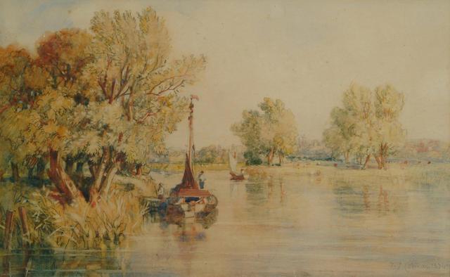 John Joseph Cotman (British, 1814-1878) On the Yar, 9 1/4 x 14 3/4 in (23.5 x 37.5 cm).