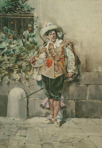 D.Muniz (Spanish, 19th Century) A soldier, 13 1/2 x 9 1/2 in (34.5 x 24 cm).