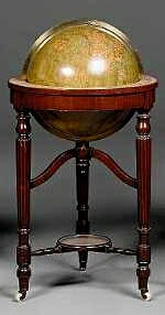An 18-Inch Johnston Terrestrial Library Globe, English, globe late 19th century, stand early 19th century,
