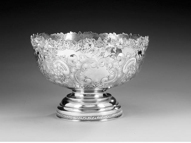 An large Edwardian silver punch bowl, by E. J. Greenberg, Birmingham 1909,