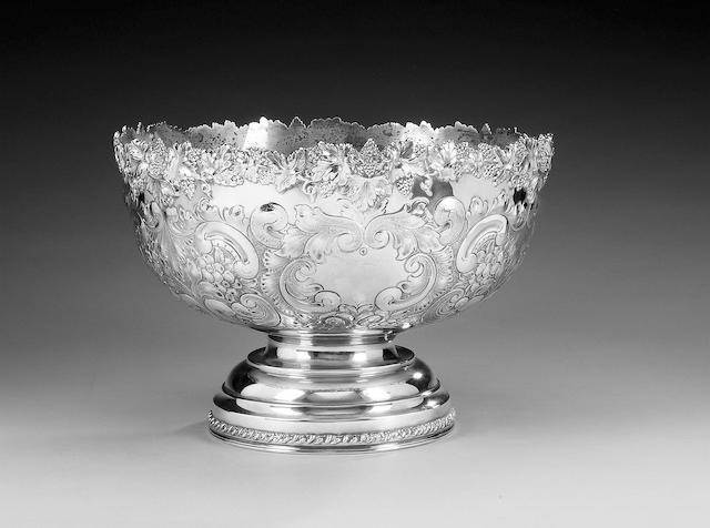An large Edwardian silver punch bowl, by E. J. Greenberg, Birmingham 1909,