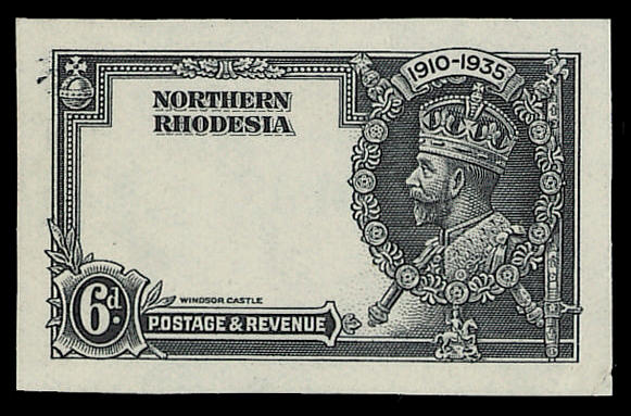 1935 Jubilee - Northern Rhodesia 1d. to 6d. set of four De La Rue imperf. frame die proofs, printed in black on ungummed thin wove paper without wmk., a fine scarce set.