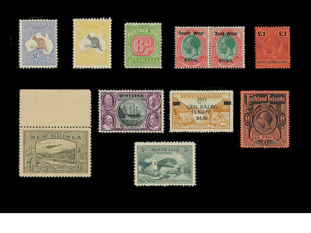 A Q.V. to Q.E.II collection in a stockbook mint inc. Australia 1932 5/- Bridge, 1913 £1 brown and ul