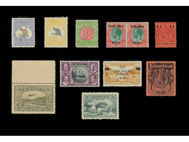 A Q.V. to Q.E.II collection in a stockbook mint inc. Australia 1932 5/- Bridge, 1913 £1 brown and ultramarine, 1915 5/- grey and yellow, 1931-36 perf. 11 postage due 6d., Bahamas 1902-10 CA £1 green and black, British Solomon Islands 1914-23 £1 purple and black/red, Canada 1851 imperf. 3d. Beaver (5 used), 1897 $1 lake and $2 deep violet (used), 1915 optd. War Tax set, Cayman Islands, Ceylon, Cyprus 1894-96 CA values to 45pi., 1902-04 CA 45pi., Falkland Islands 1912-20 MCA £1 black/red, Gambia, Gibraltar, India 1926-33 25r. orange and blue (2), Malta 1886 CC 5/- rose, Malaya Straits Settlements 1937-41 1c. to $5, Newfoundland 1933 Balbo Flight, Gilbert set, New Guinea 1939 £1 olive-green (unmounted mint), New Zealand No watermark perf. 12 to 16 5/- vermilion, Postal Fiscals to 30/-, 35/- on 35/- (used), Surcharges, Rhodesia, St. Helena 1934 Centenery set, South West Africa 1923 £1 green and red, South Africa 1930-48 values to 10/-, etc., a few small faults and tone spots otherwise overall of fine appearance. SG (stated) £25,000.