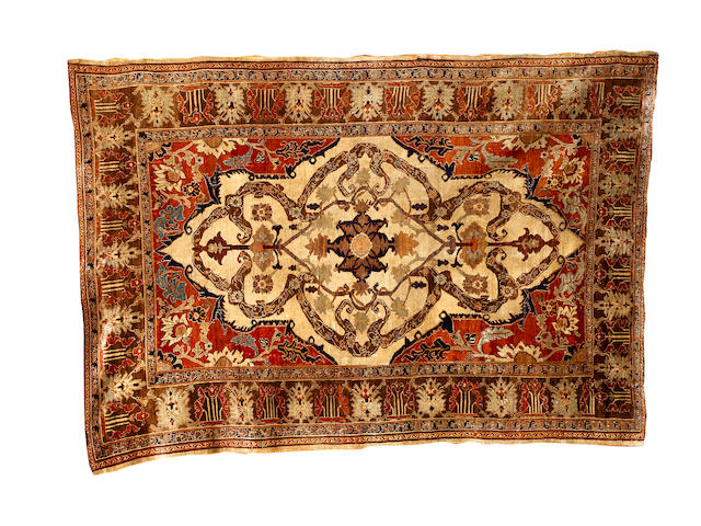 A silk Heriz rug North West Persia, 6 ft 2 in x 4 ft 4 in (188 x 132 cm)