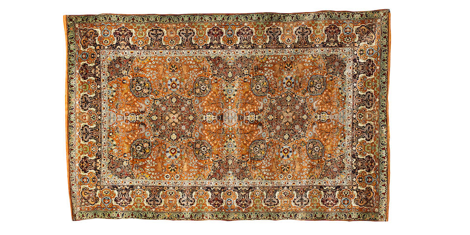 A fine silk and metal thread Turkish rug of Salting design 6 ft 10 in x 4 ft 4 in (208 x 132 cm)