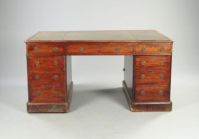 A Victorian mahogany partners' desk