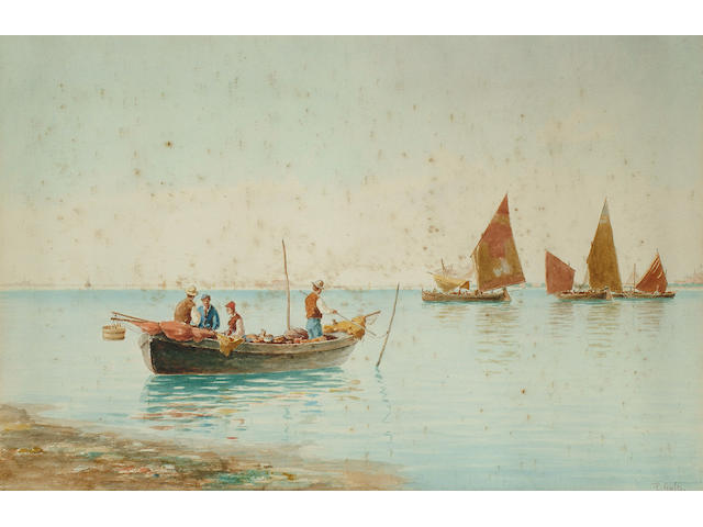 Pietro Galter (Italian, 1840-1901), Fishing boats in a Lagoon, 33 x 51cm.