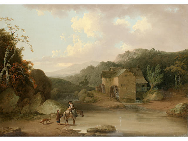 Julius Caesar Ibbetson (Leeds 1759-1817 Masham) Figures watering a horse with a mill beyond 46.5 x 64.2 cm. (18¼ x 25¼ in.)