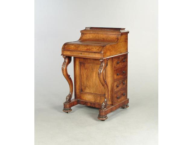 A Victorian walnut piano top Davenport