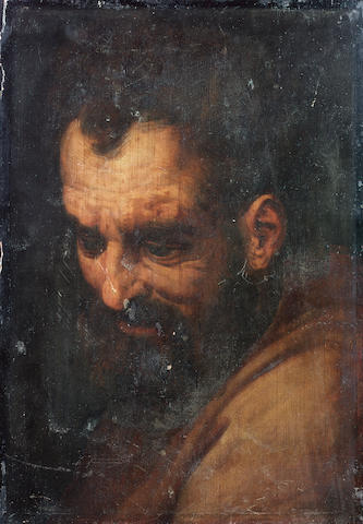 Studio of Frans Floris (Antwerp 1516-1570) The head of a bearded man 47.6 x 33 cm. (18¾ x 13 in.) un