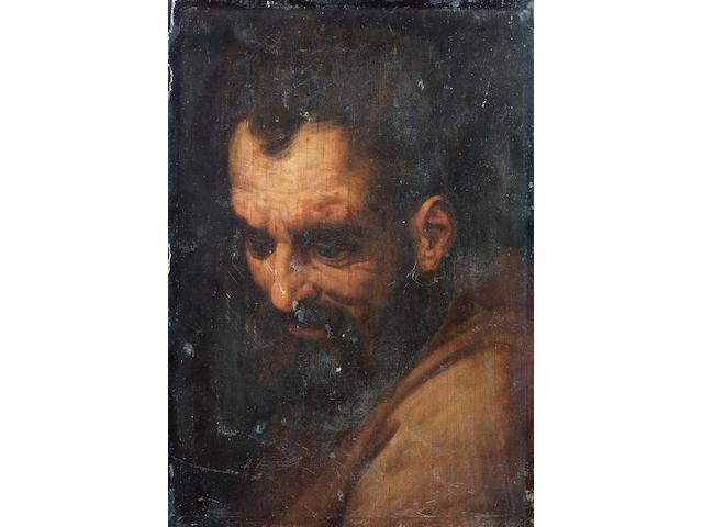 Studio of Frans Floris (Antwerp 1516-1570) The head of a bearded man 47.6 x 33 cm. (18¾ x 13 in.) unframed
