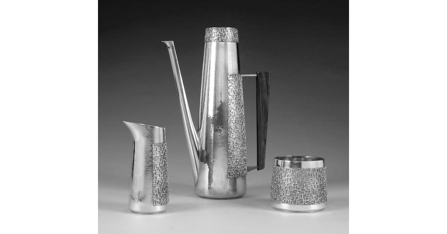 STUART DEVLIN : A silver and silver gilt three piece coffee service, London 1969,