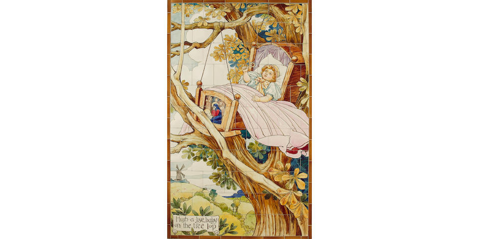 'Hush a Bye Baby on the Tree Top' An Important Doulton Faience Tile Panel