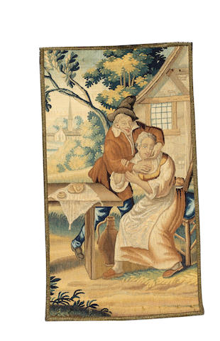 An 18th century Flemish tapestry fragment 79cm x 44cm