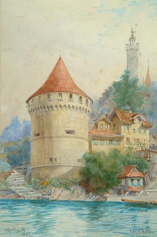 Sir Hubert Medlycott (British, 1841-1920) Lucerne, 10 3/8 x 6 7/8 in (26.5 x 17.5 cm).