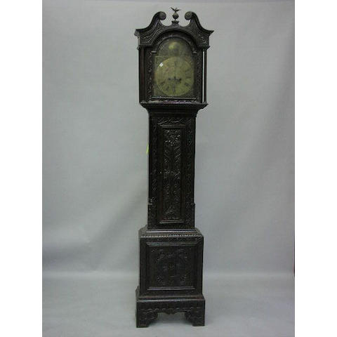 Thomas Lister, Luddenden, a George III oak and later carved longcase clock