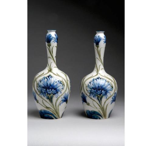 'Cornflower': a pair of Moorcroft Florianware vases,