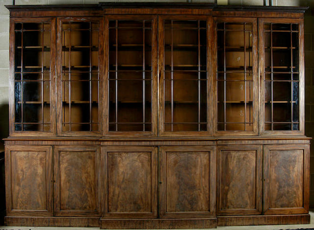 A good Regency mahogany library breakfront bookcase,
