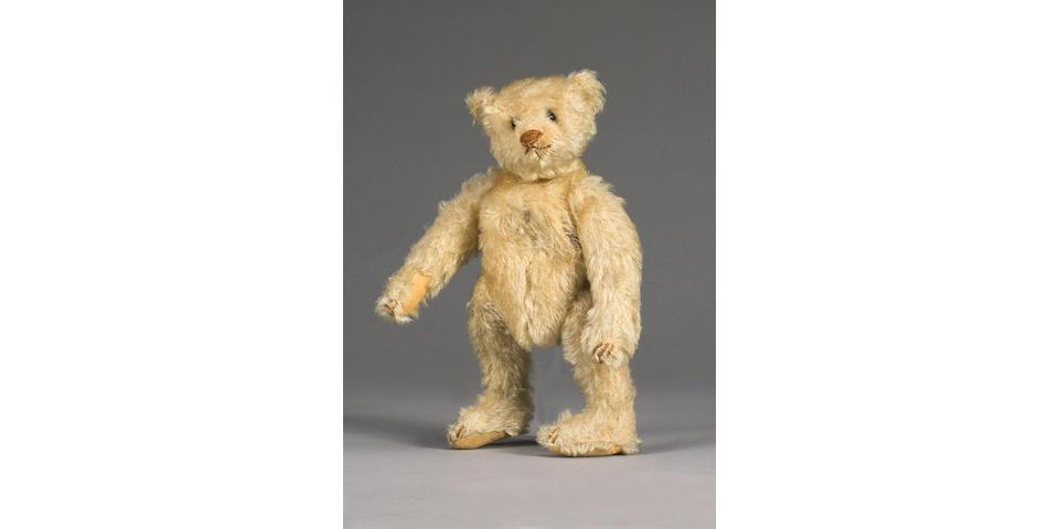 Rare blank button white mohair Steiff Teddy bear, German circa 1905-1907
