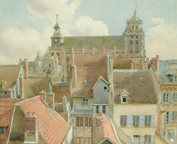 Charles H.H.Burleigh (British, 1875-1956) Gisors, 14 x 17 in (35.5 x 43 cm).
