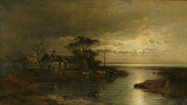 Continental School, 19th Century A figure by a cottage in a moonlit river landscape, 23 5/8 x 41 3/4 in. (60 x 106 cm.)