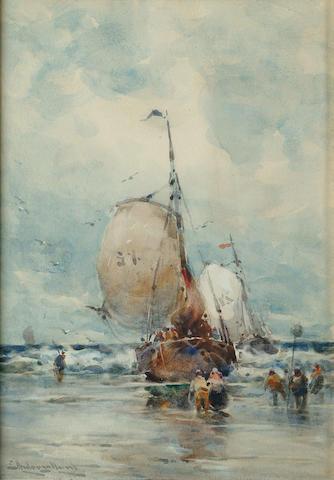 Edward Aubrey Hunt (British, 1855-1922) Fishing boats on a beach, 13 1/2 x 9 5/8 in (34.5 x 24.5 cm).