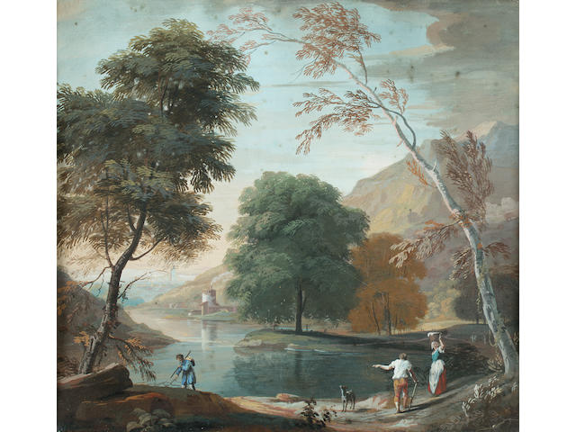 Circle of Marco Ricci (Belluno 1676-1730 Venice) An Italianate landscape with figures beside a lake; and an Italianate landscape 27.5 x 30.5 cm. (10 7/8 x 12 in.)(2)