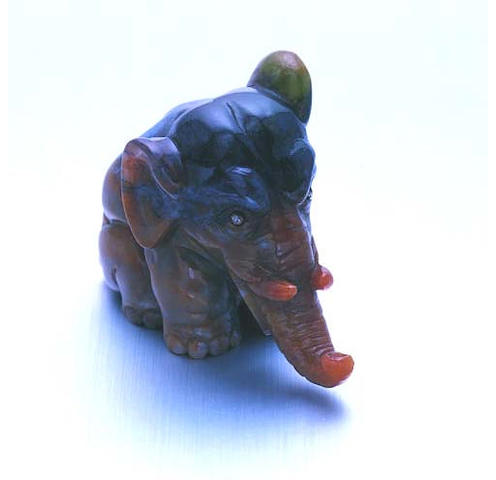 A carved chalcedony elephant by Fabergé