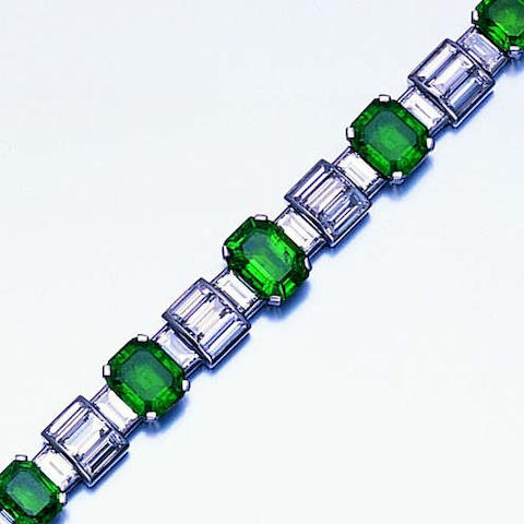 An art deco emerald and diamond bracelet
