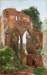Edmund George Warren, R.I. (British, 1834-1909) Conversing by a ruined archway 83 x 51 cm. (32 3/4 x