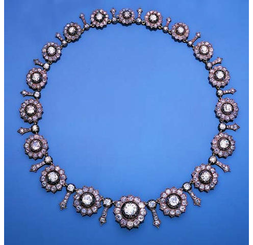 A late 19th century diamond necklace