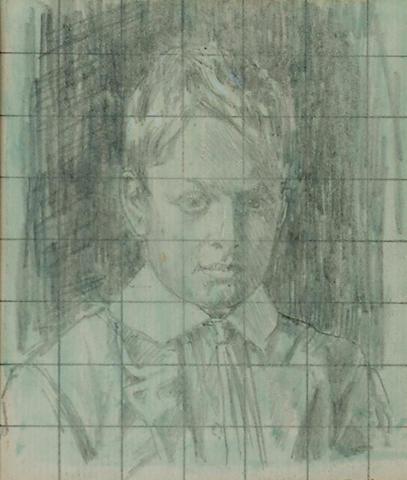 Malcom Drummond (British, 1880-1945) The artist's son, 4 x 3 3/8 in (10 x 8.5 cm).