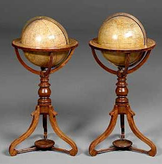 A 12-inch Terrestrial and a 12-inch Celestial Globe on Stands, English, 19th century and later,
