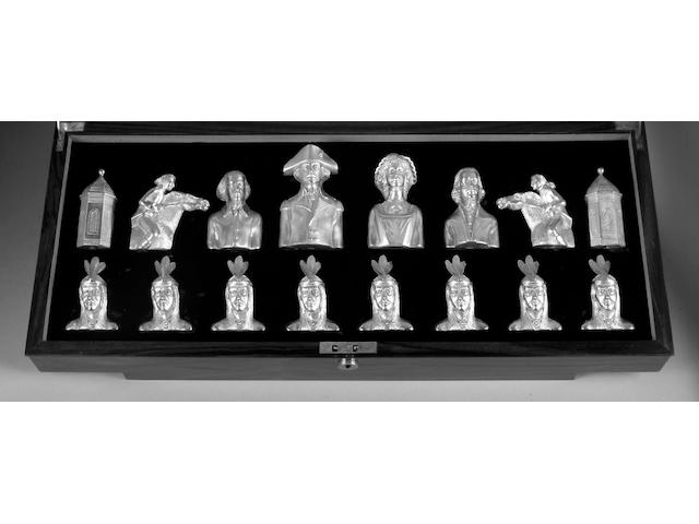 Silver chess set-Boston tea party (George III vs George Washington London 1973)