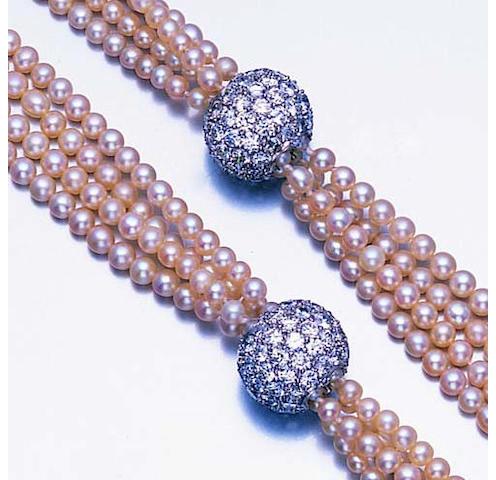 A pearl and diamond sautoir