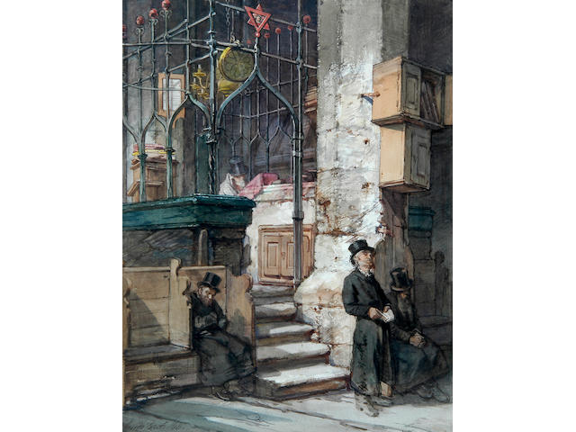 "Guido Bach, R.I. (1828-1905) ""The synagogue Prague"" 53.5 x 40.5 (21 x 16in)."