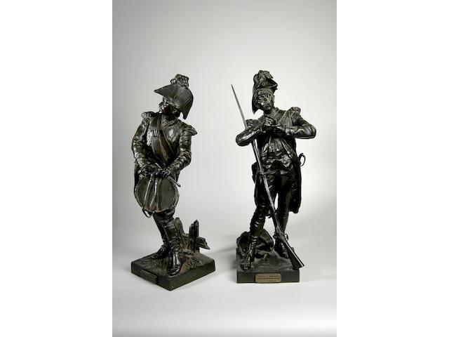 """Etienne-Henri Dumaige (French 1830-1888), """"Avant le Combat, Volontaire de 1791"""" a bronze figure of a drummer,"""